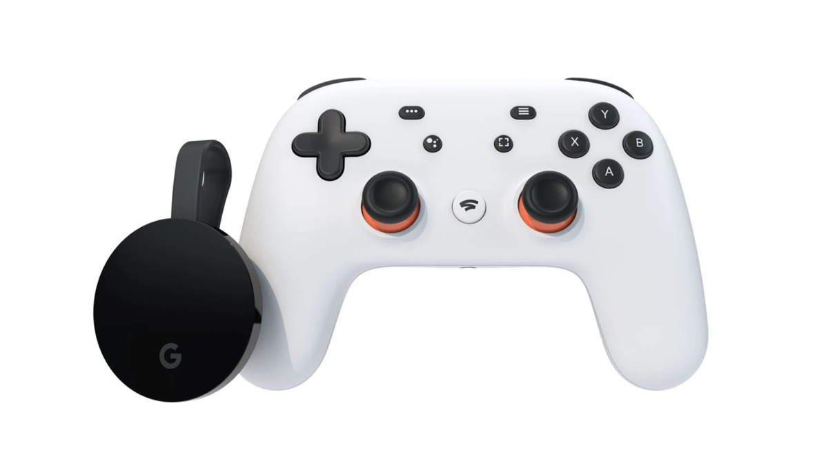 A photo of the Stadia controller and the Chromecast Ultra.