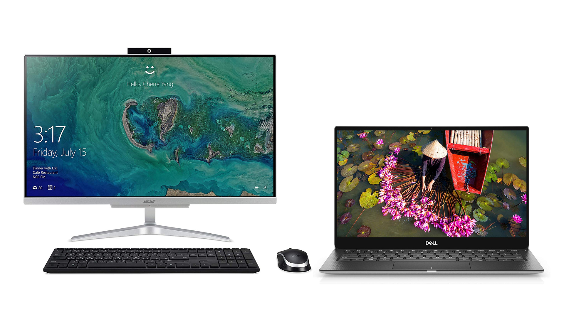 A photo of the Acer Aspire C2 and the Dell XPS 13.