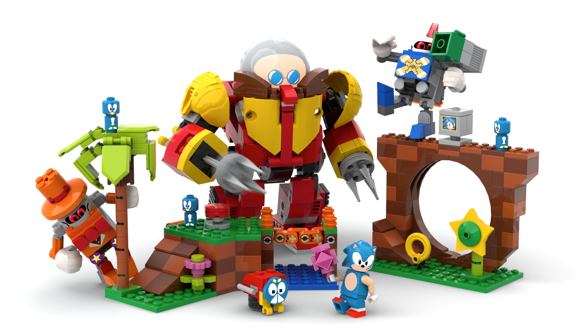 A mockup of a Lego Sonic, robotnick, and Green Hills Zone