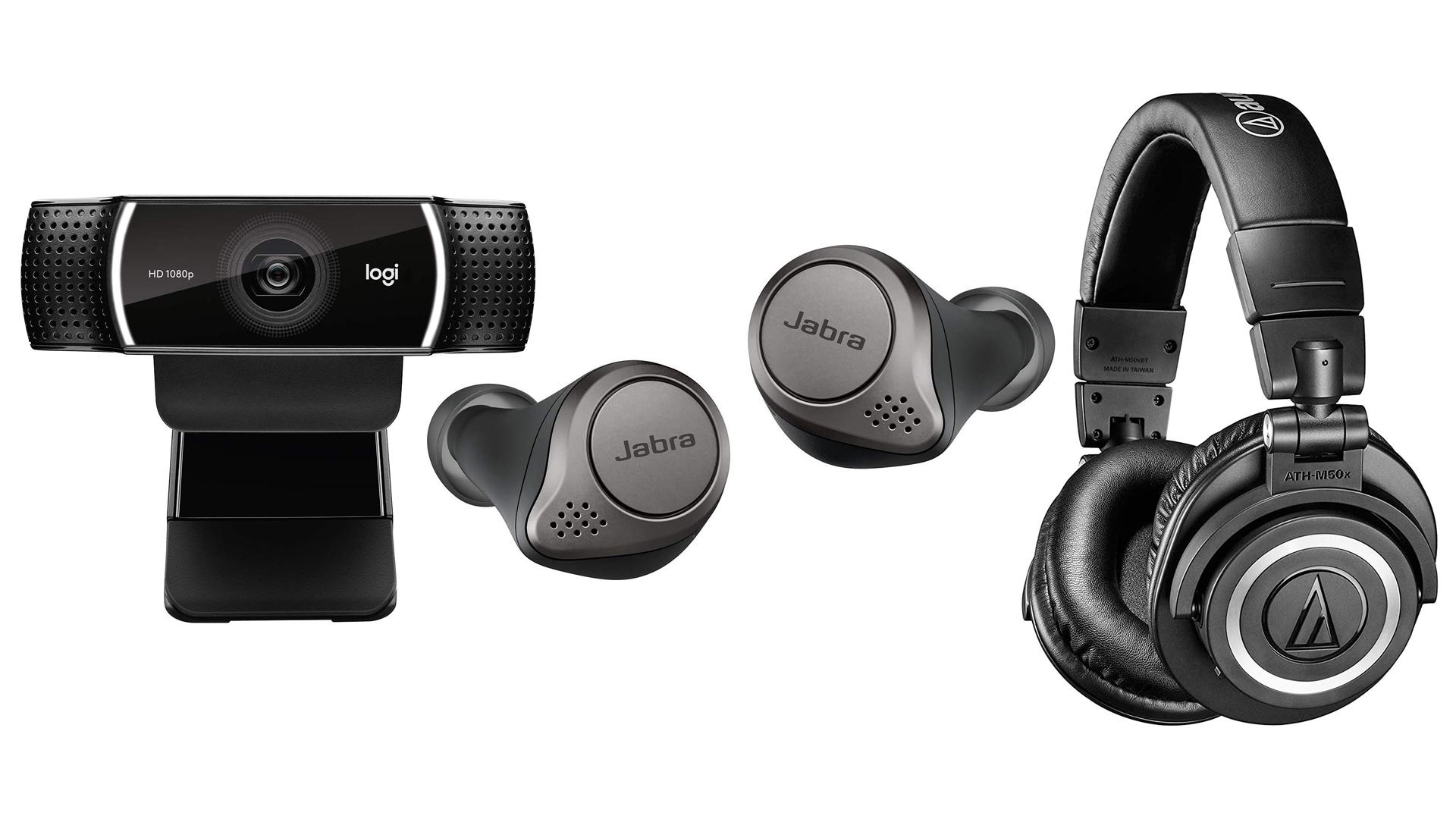 A photo of the Logitech webcam, Jabra Elite 75t earbuds, and the Audio Technica wireless headphones