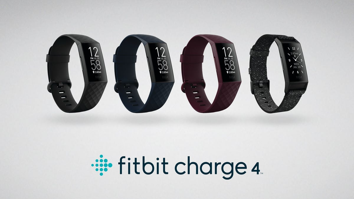 The Fibit Charge 4 in four different colors.