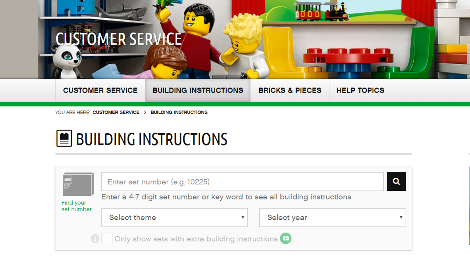 LEGO Building Instructions support page