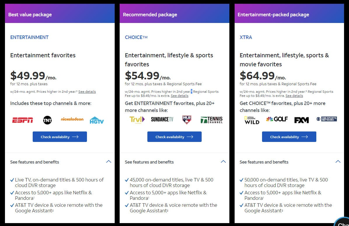 AT&T TV service packages.