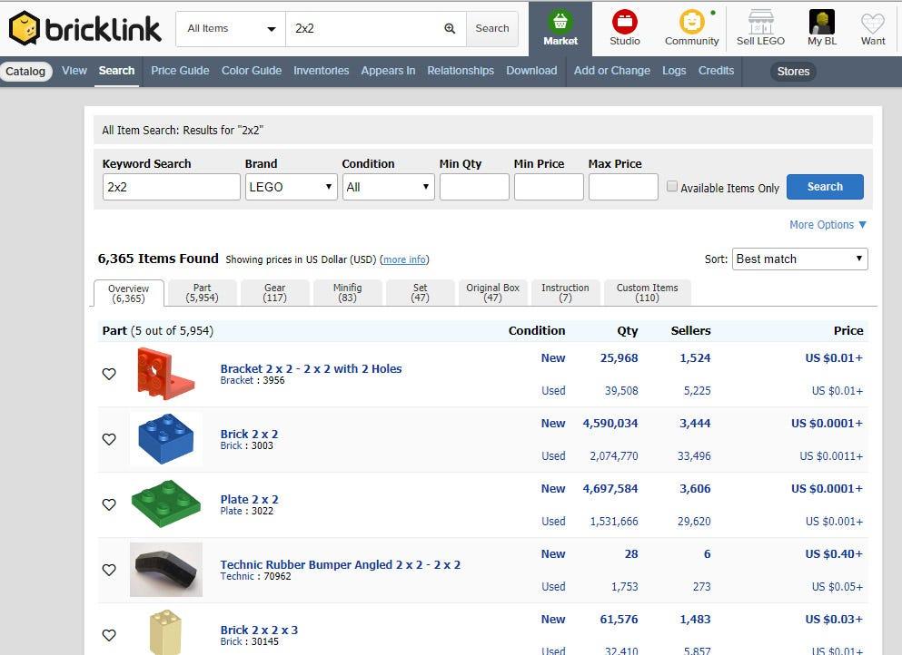 Bricklink's brick search system.