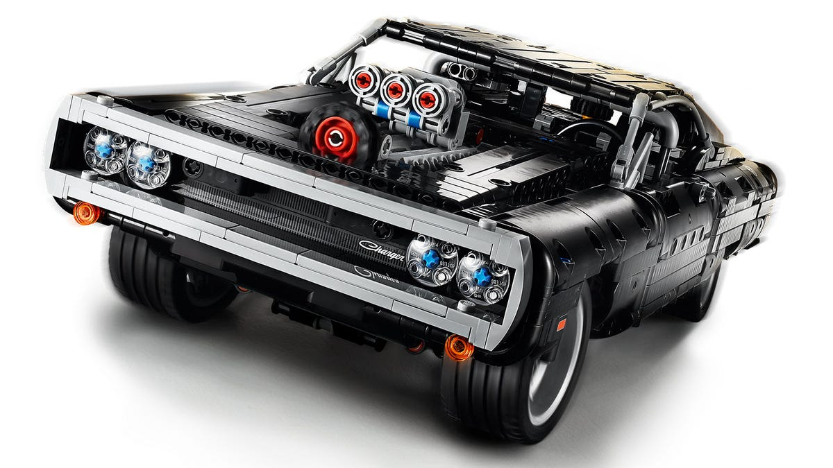 A closeup of a LEGO Dodge Charger