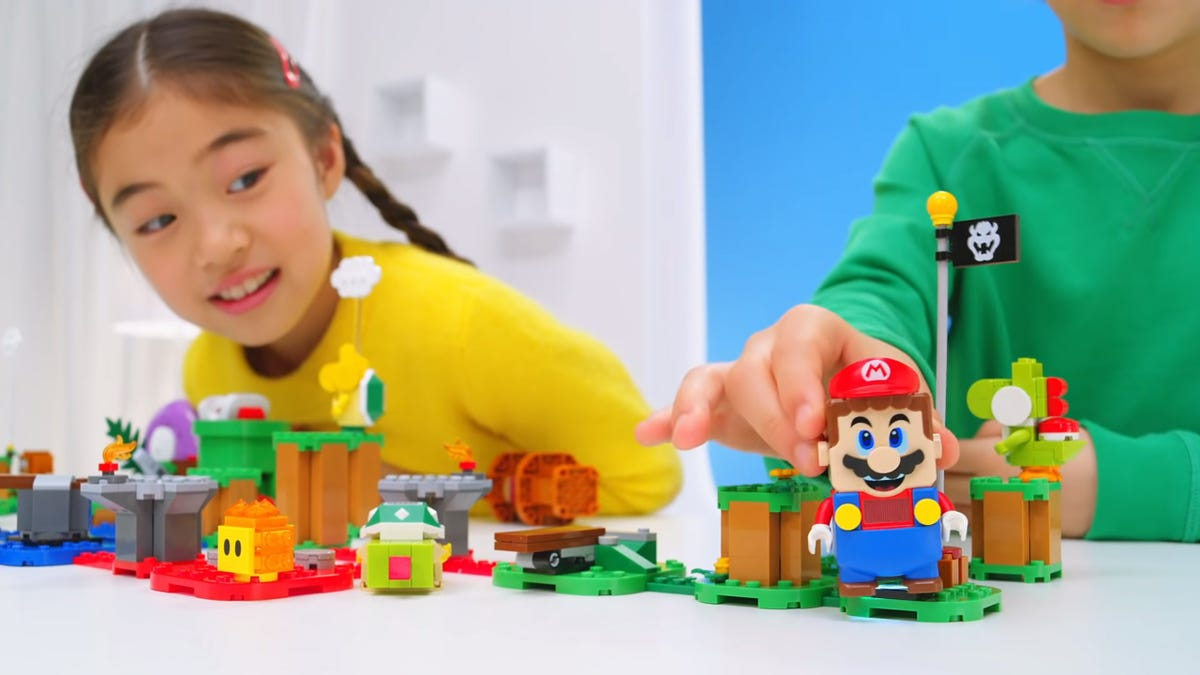 A LEGO Super Mario set, with electronic figure