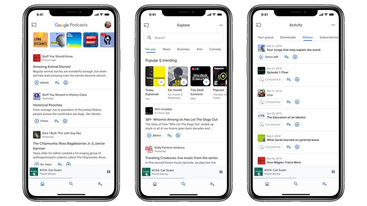The home, explore, and activity pages of the Google Podcasts app.