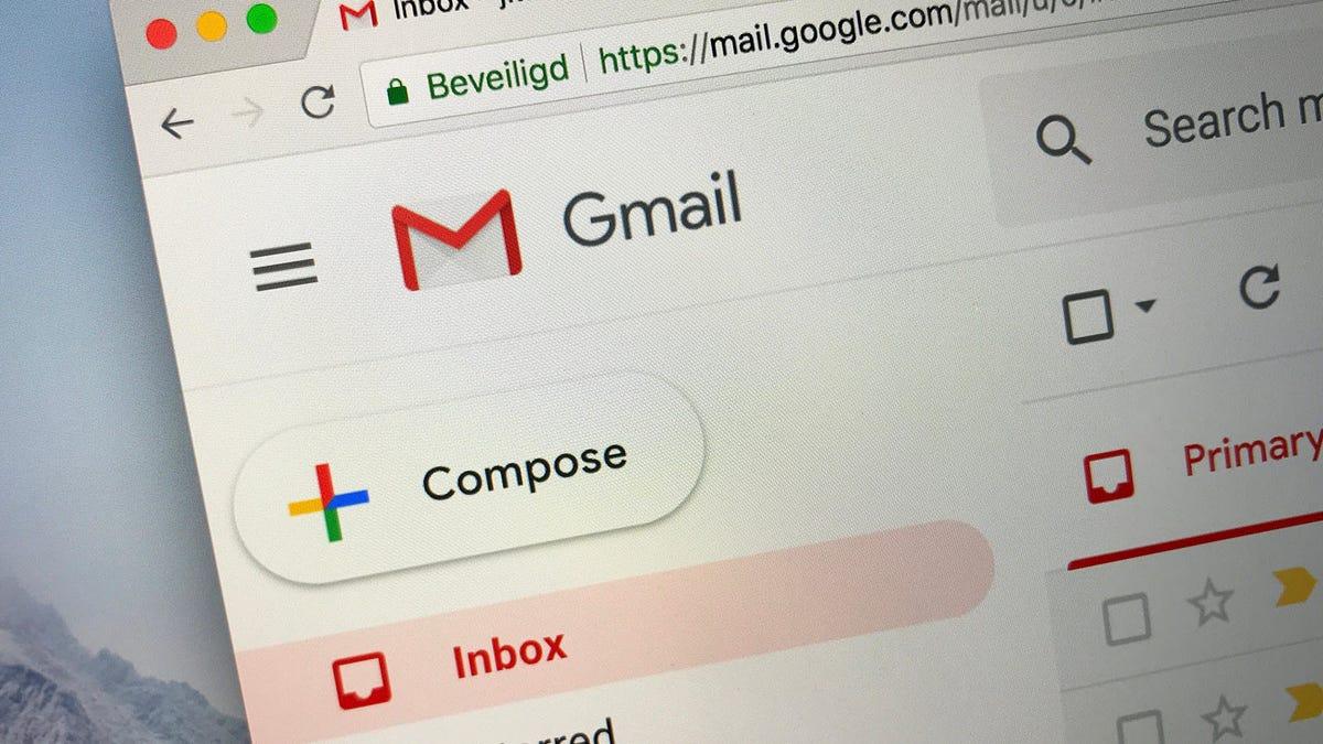 A closeup of Gmail open in a Safari browser
