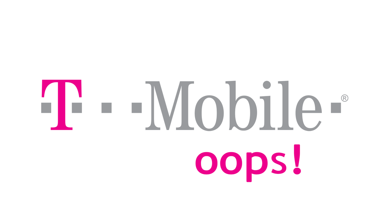 The T Mobile logo next to the word oops.