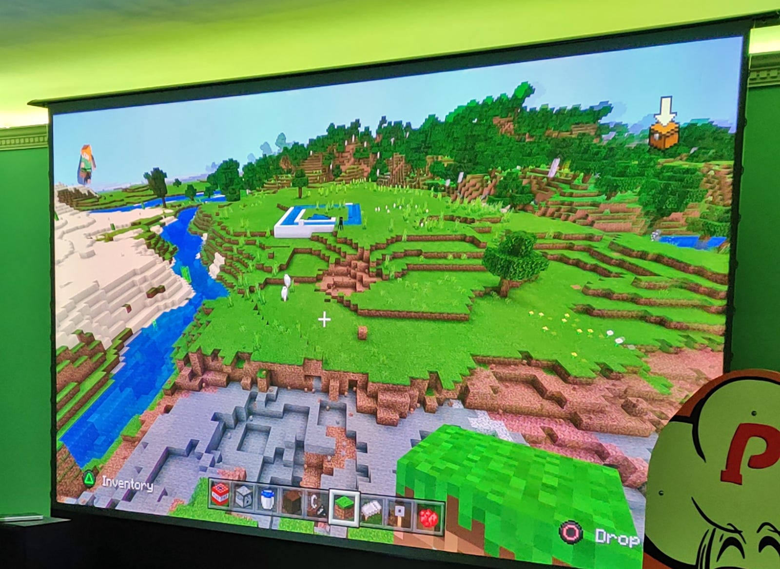 Minecraft on a giant 100 inch screen.