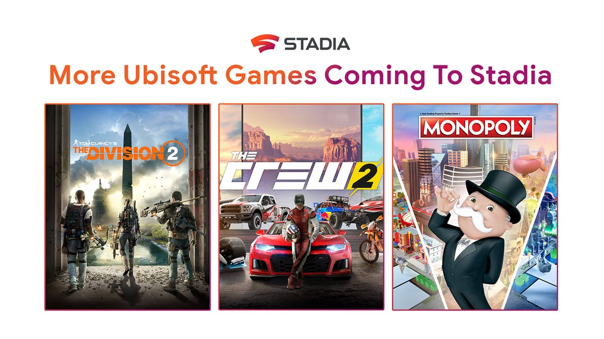 """A Stadia announcement featuring artwork from """"The Division 2,"""" """"The Crew 2,"""" and """"Monoply."""""""