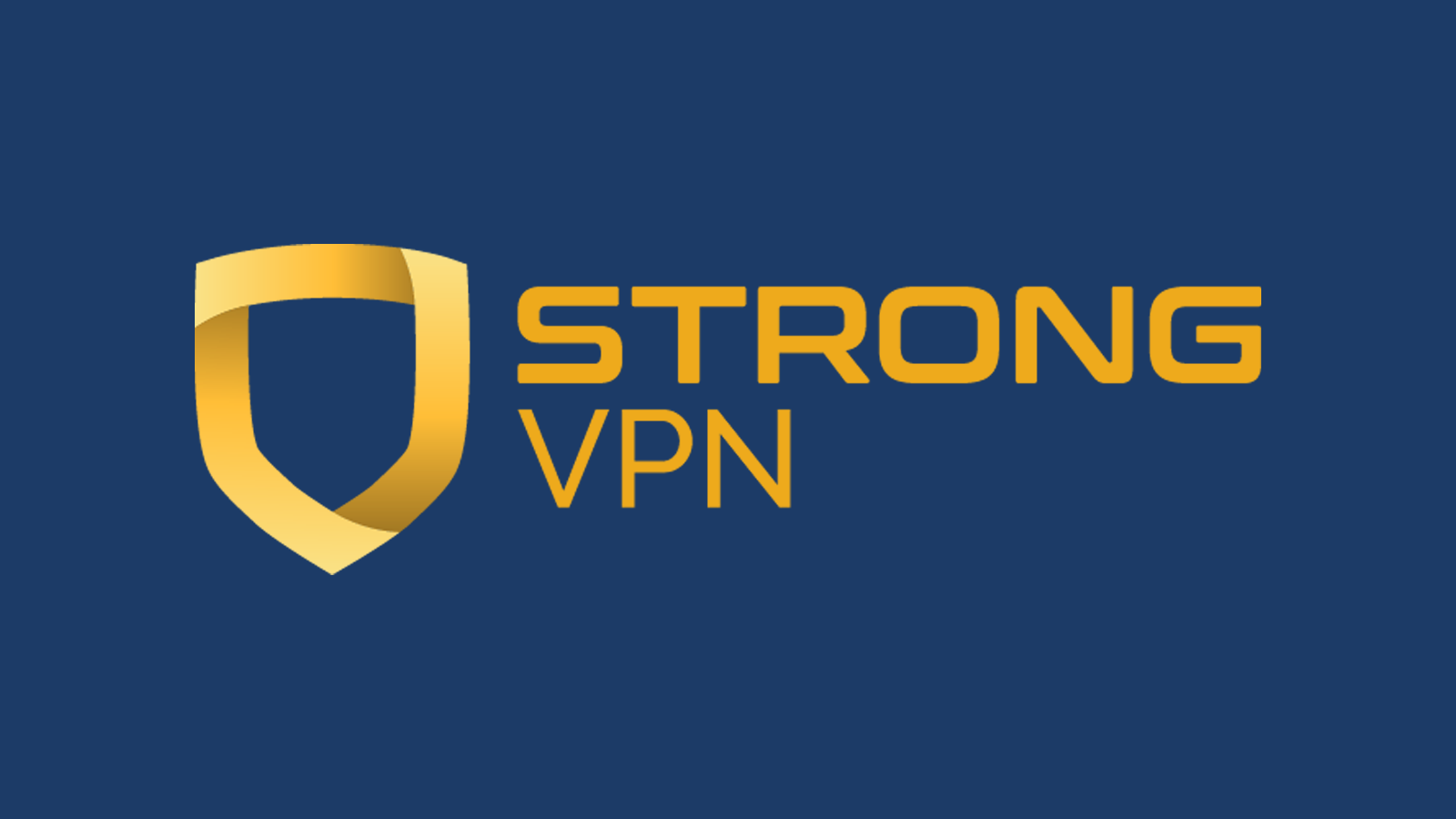 StrongVPN company name and logo against dark background