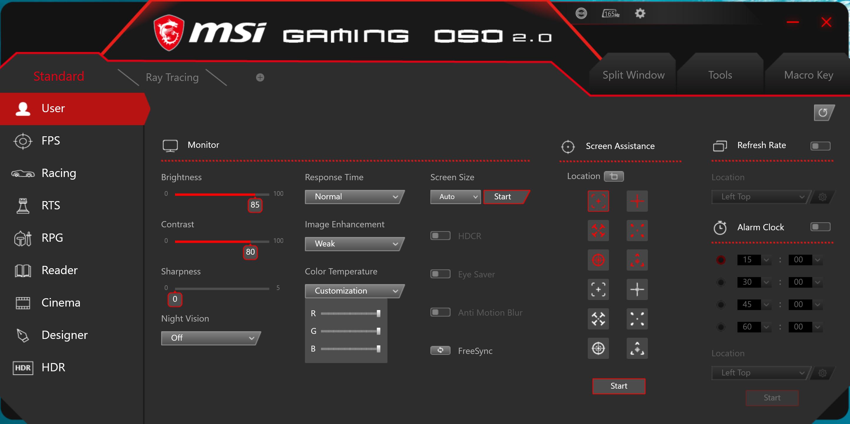 MSI Optix MAG272CQR OSD software.