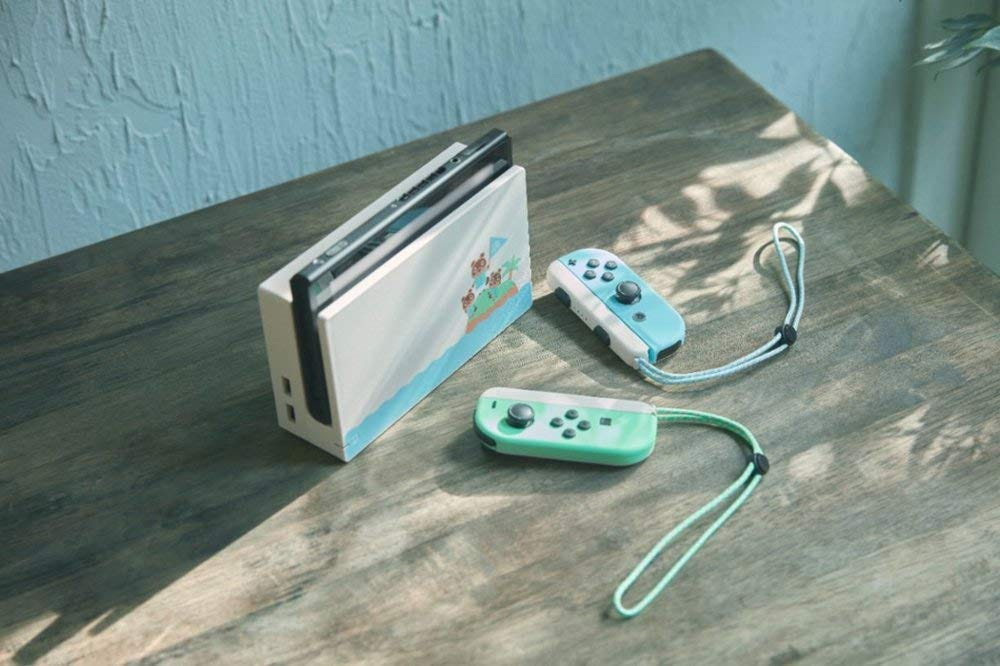 The special Animal Crossing edition Switch console.
