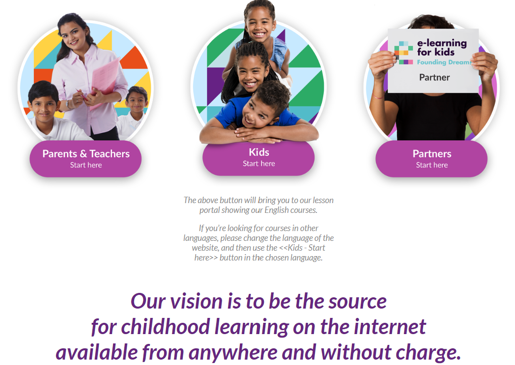 E-Learning for Kids Homepage