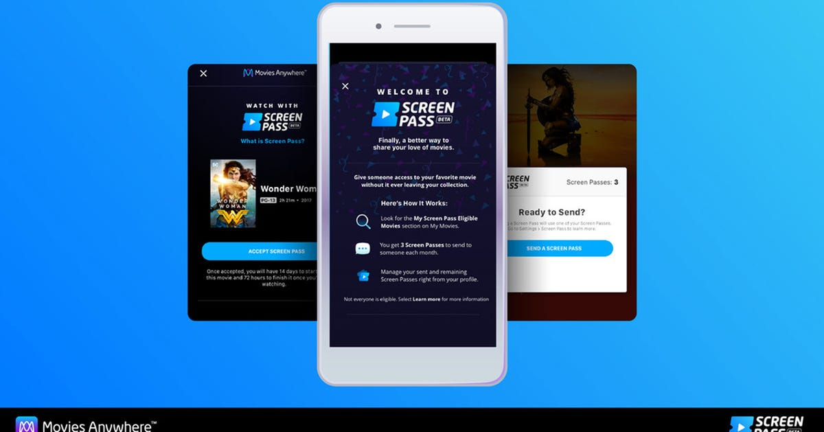 Three phones with the Movies Anywhere app open featuring a Screen Pass dialogl