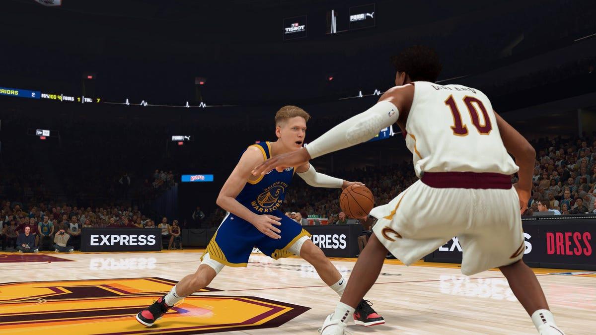 A virtual William Floyd, playing basketball inside a 2K game