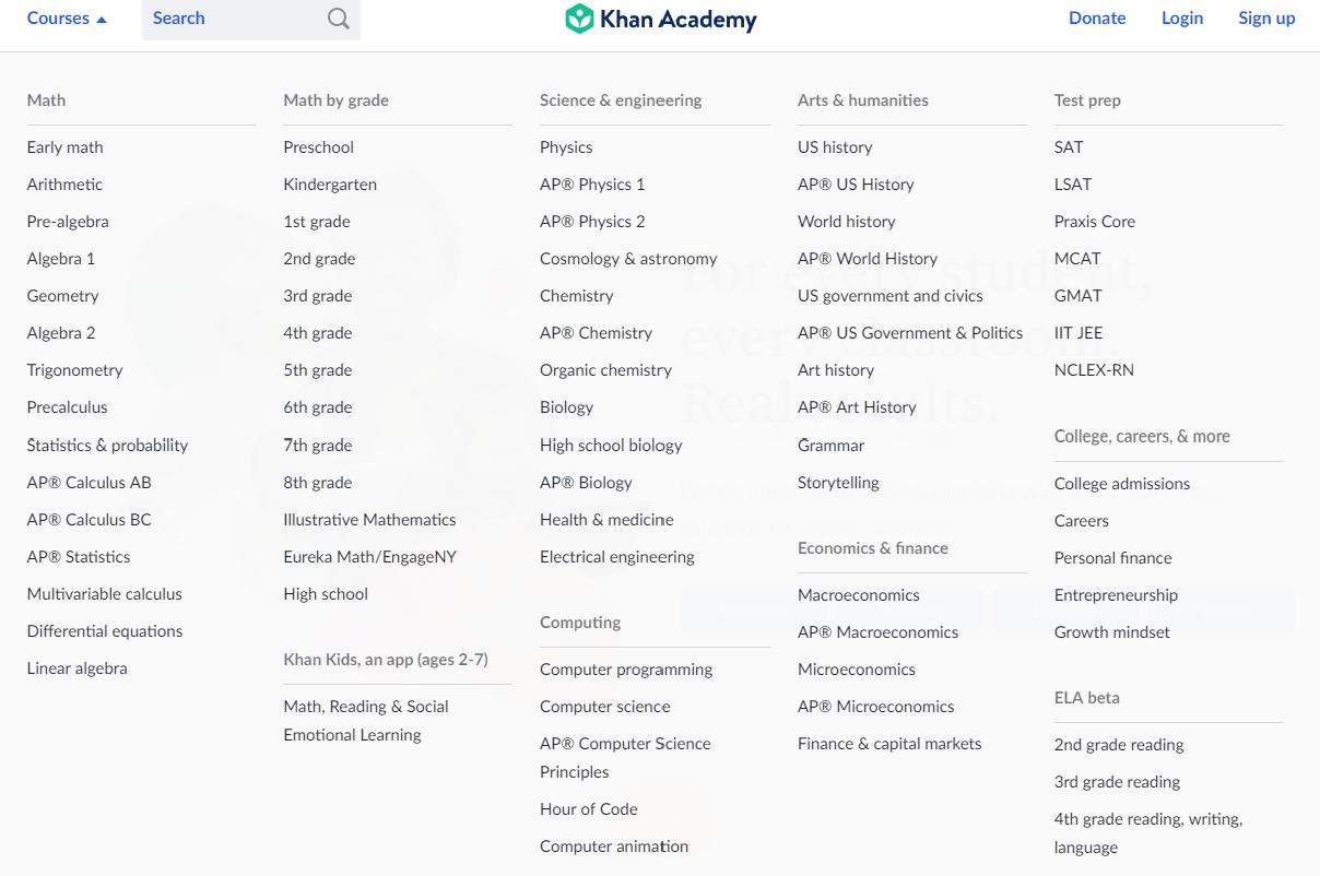 Khan Academy courses
