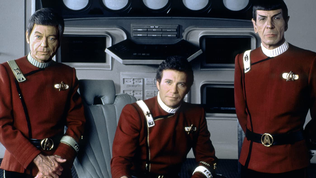 A photo Kirk, Bones, and Spock.