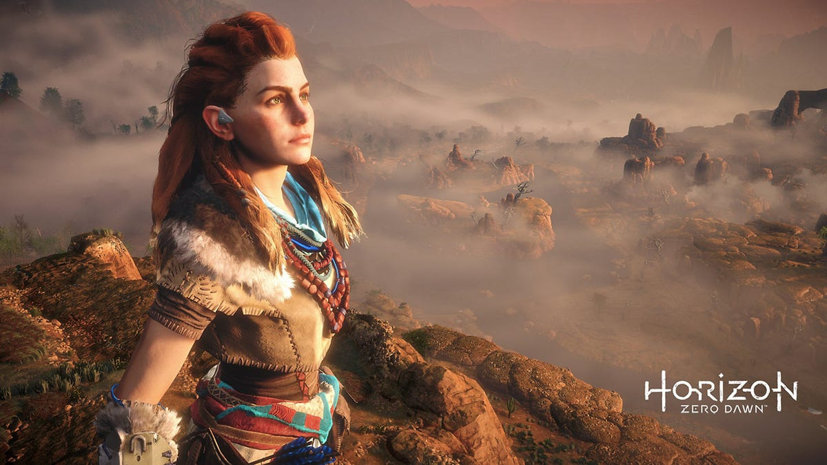 """Alloy, from """"Horizon Zero Dawn,"""" staring off into the distance."""