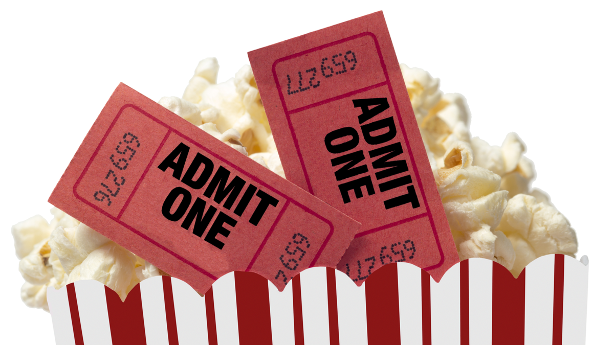 Small Red and White Bucket Of Popcorn With Two Red Movie Tickets