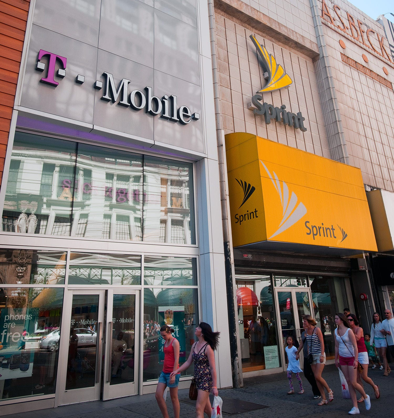 T-Mobile and Sprint stores together.