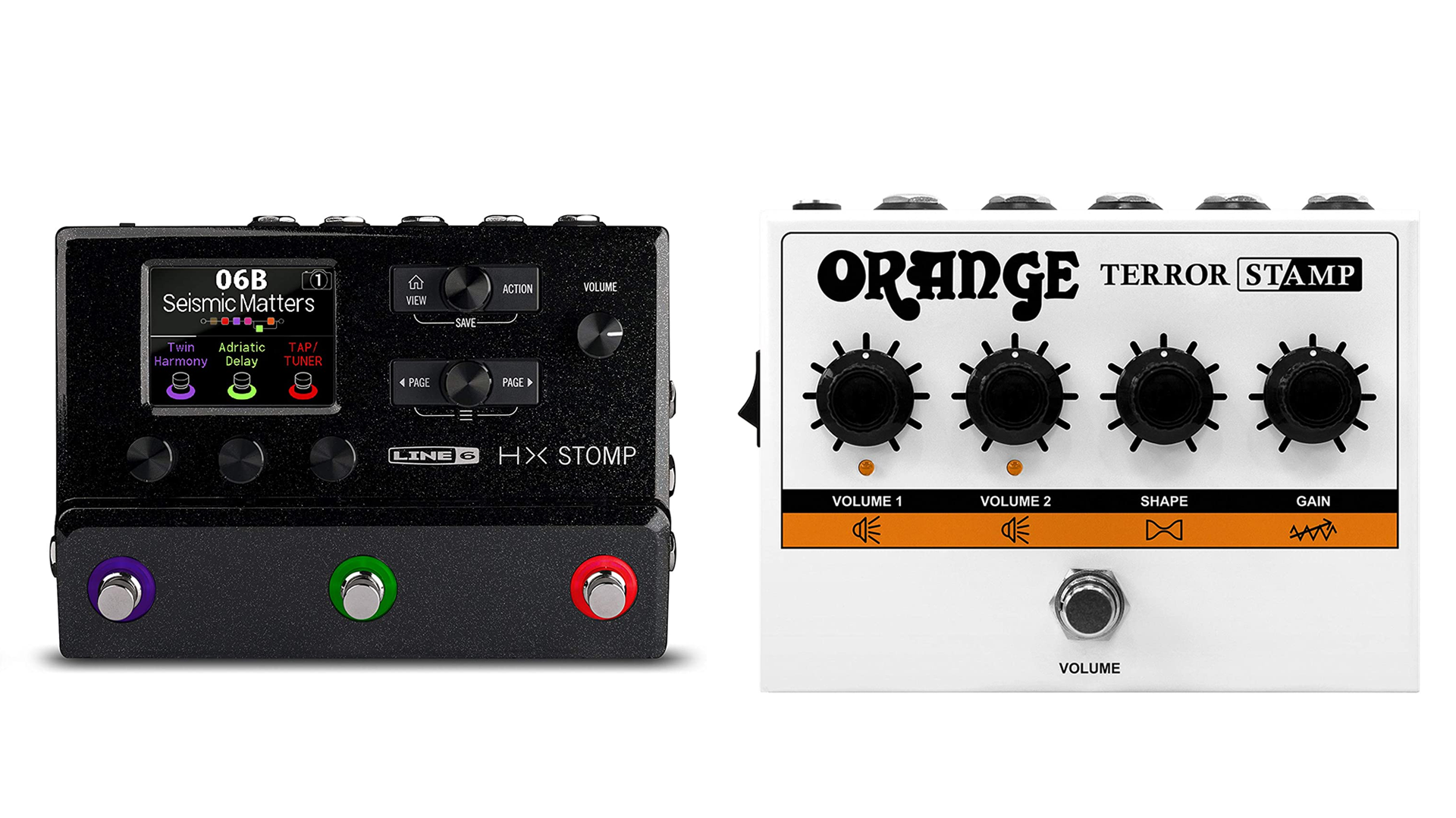 A photo of the Line 6 Helix and Orange Terror guitar pedals.