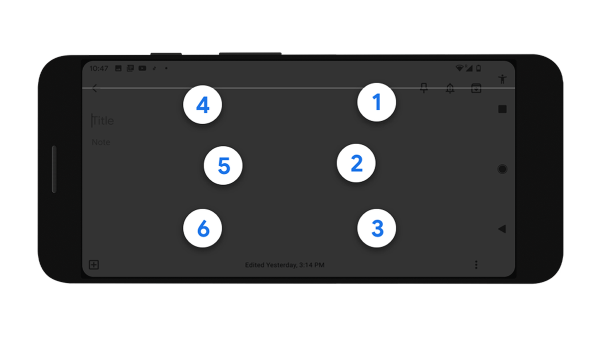 The Google Talkback keyboard on an Android phone.