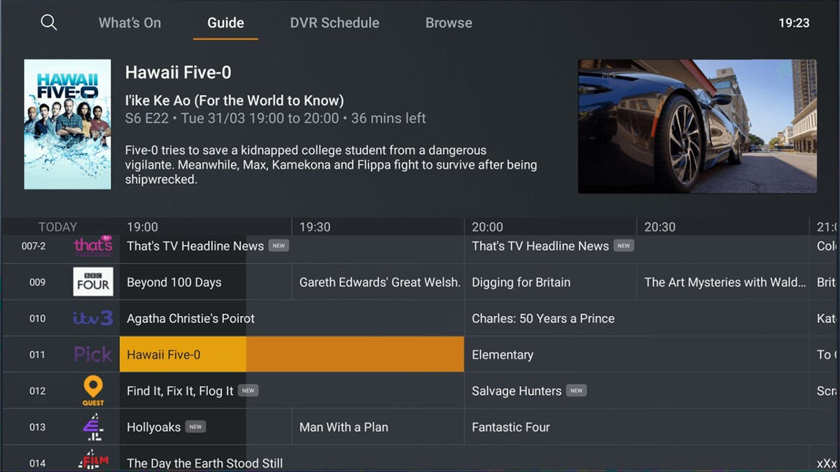 The updated Plex Live TV interface, showing various shows on channels.