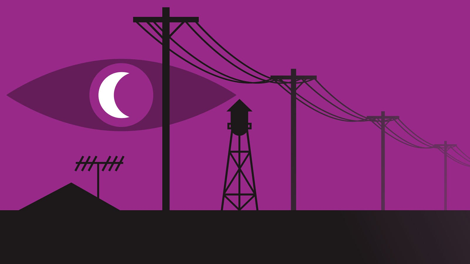 Promotional poster for Welcome to Night Vale featuring their trademark purple sky and moon with an eye.