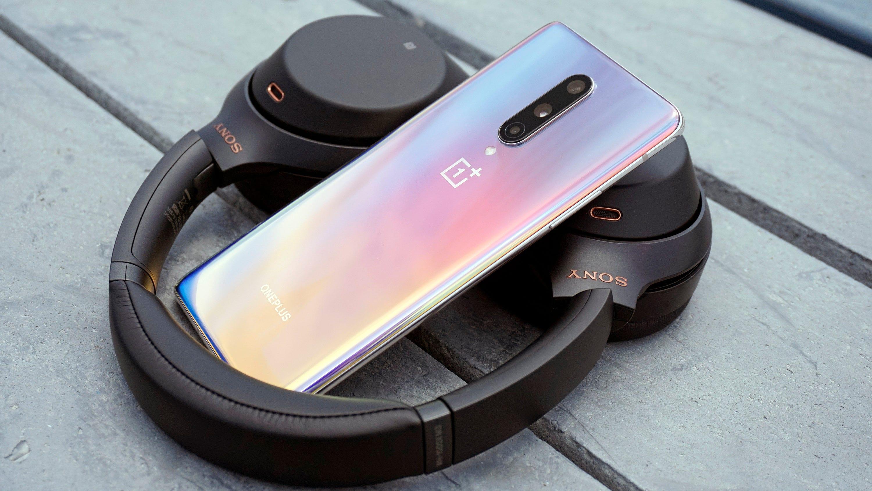 OnePlus 8 with Sony headphones.