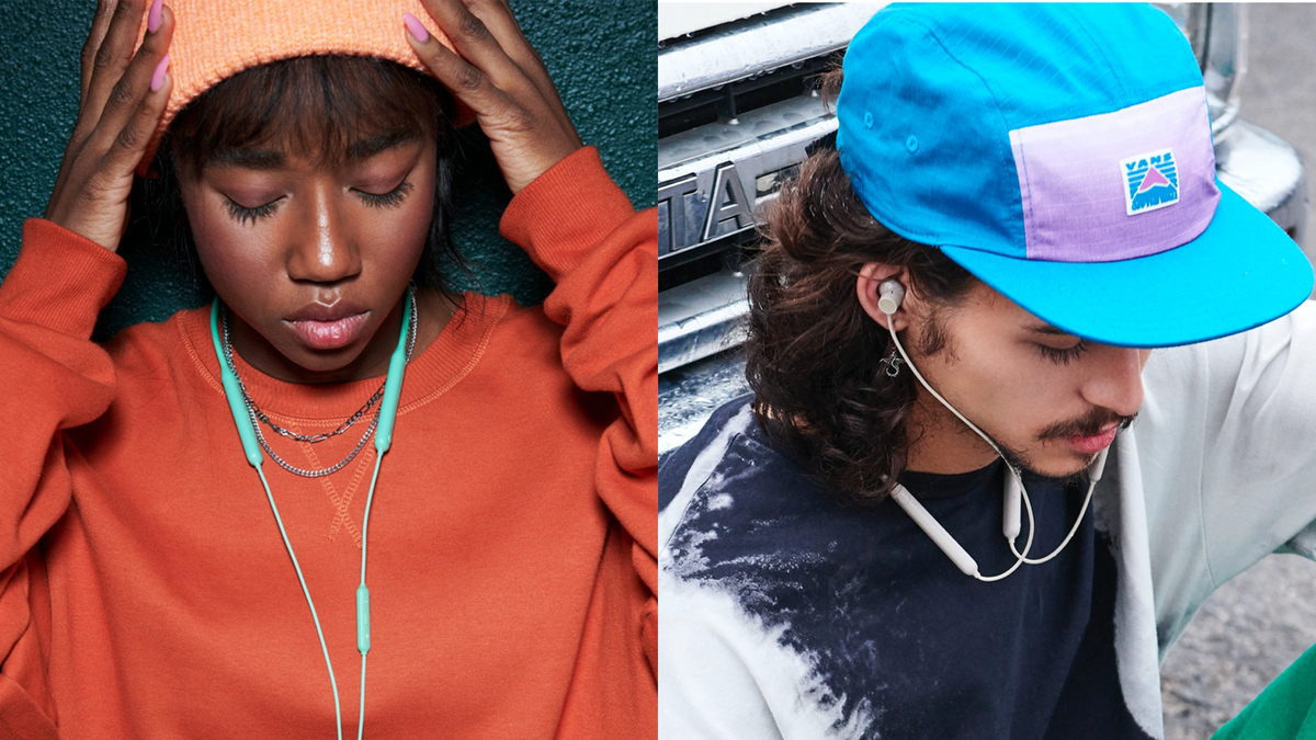Photos of people wearing the OnePlus Bullet Wireless Z earbuds.