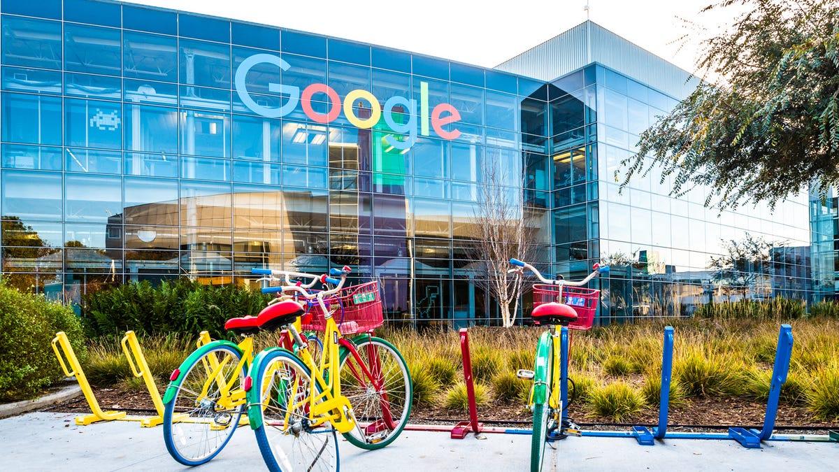 An Exterior shot of a Google HQ building.