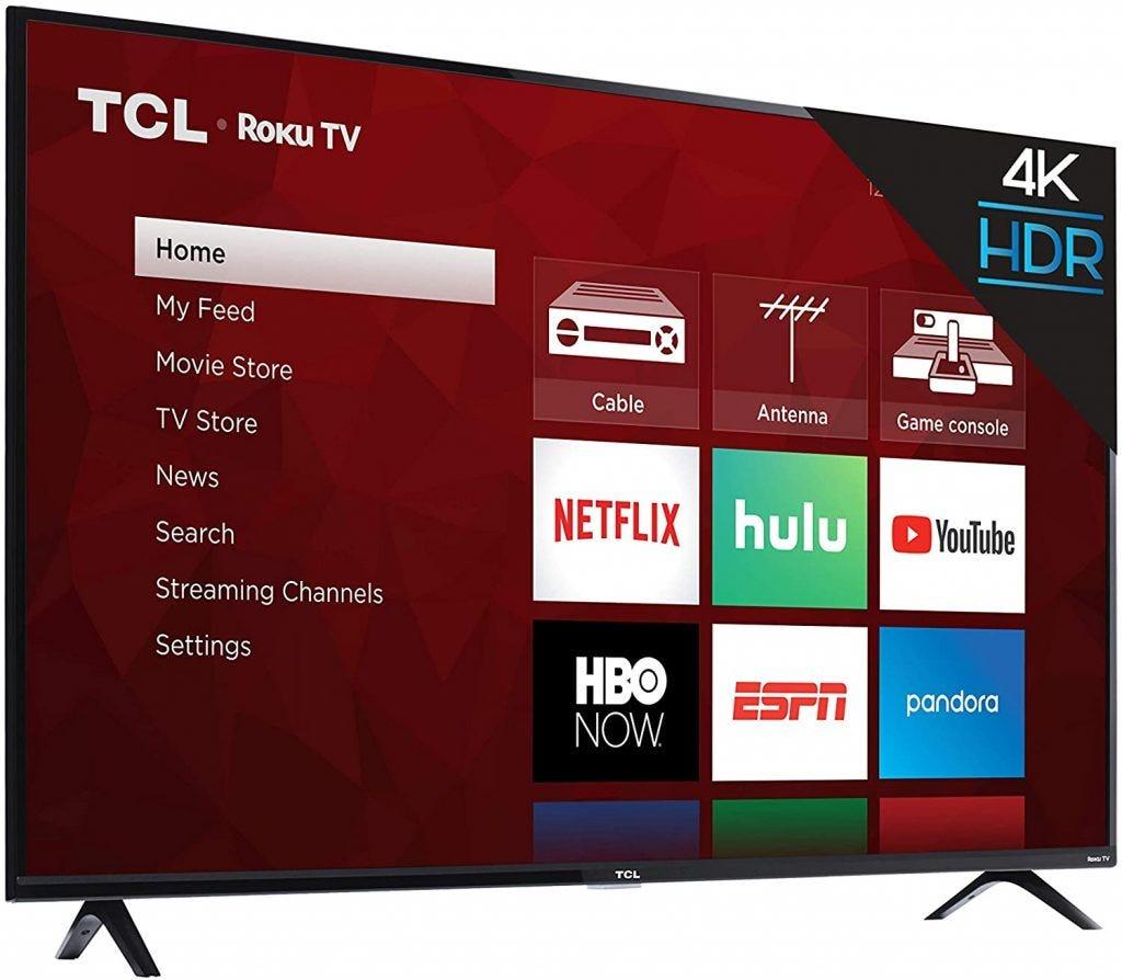 TCL TV displaying its menu