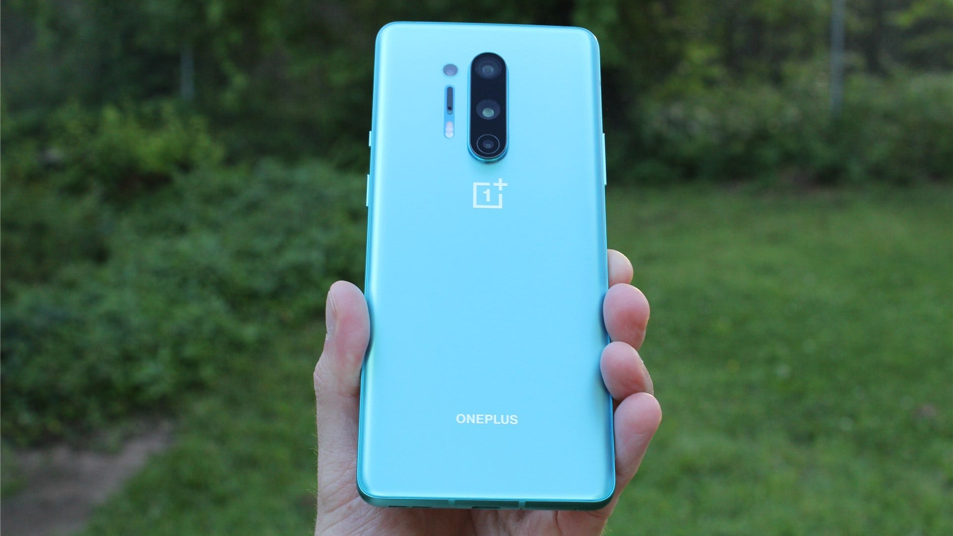 The OnePlus 8 Pro in Glacial Green.