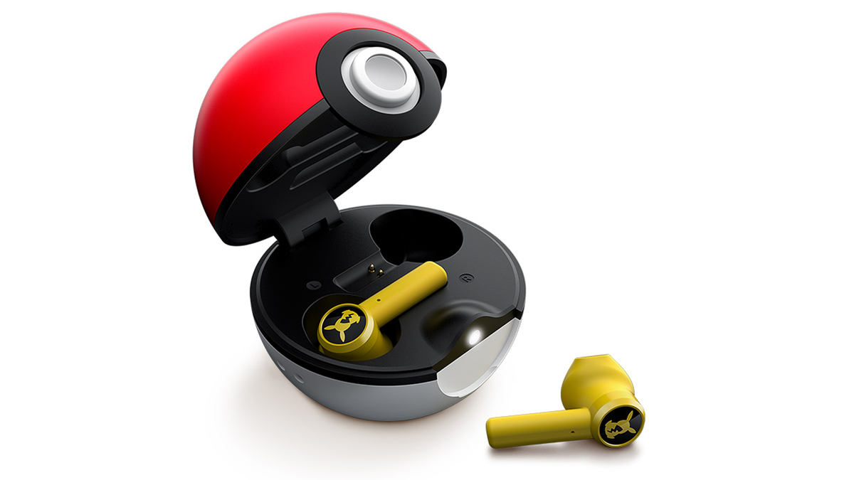 A photo of the pokeball earbuds.