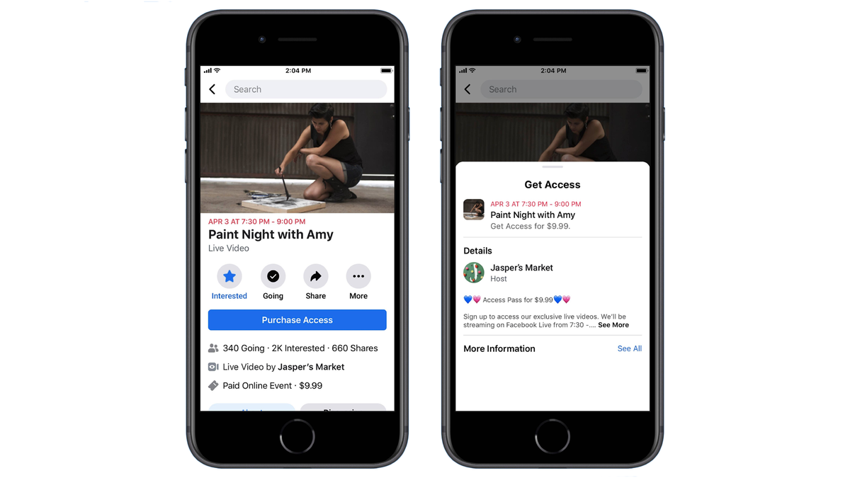 Renders of the Purchase Access button for Facebook Live events.