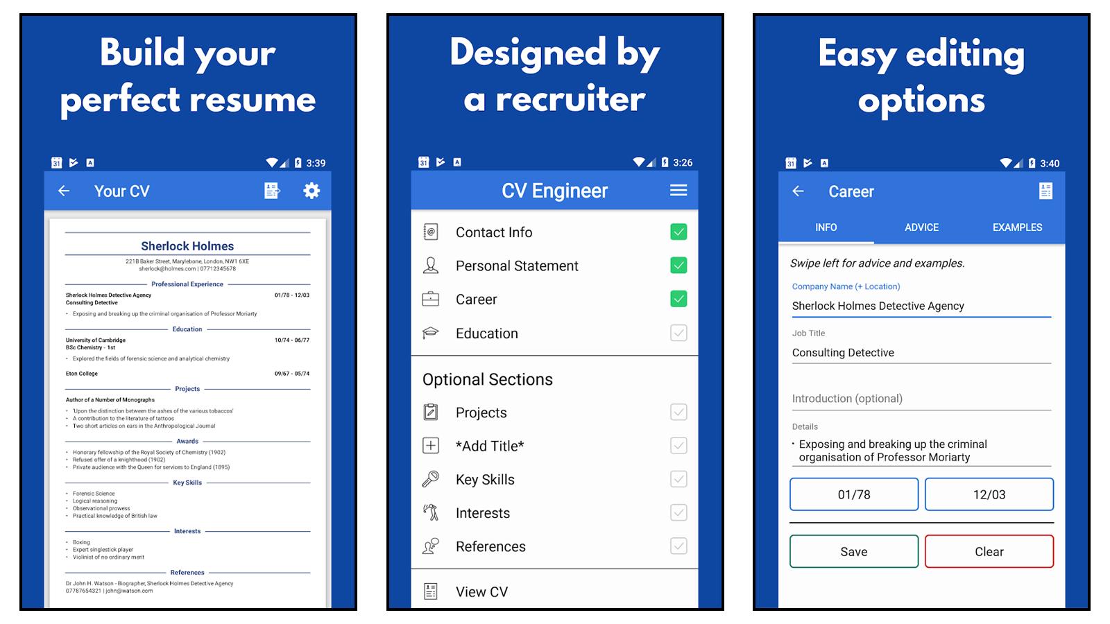 CV Engineer Resume App