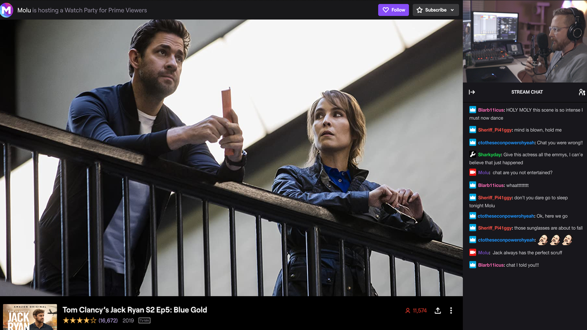 A Twitch streamer watching Jack Ryan with his fans.