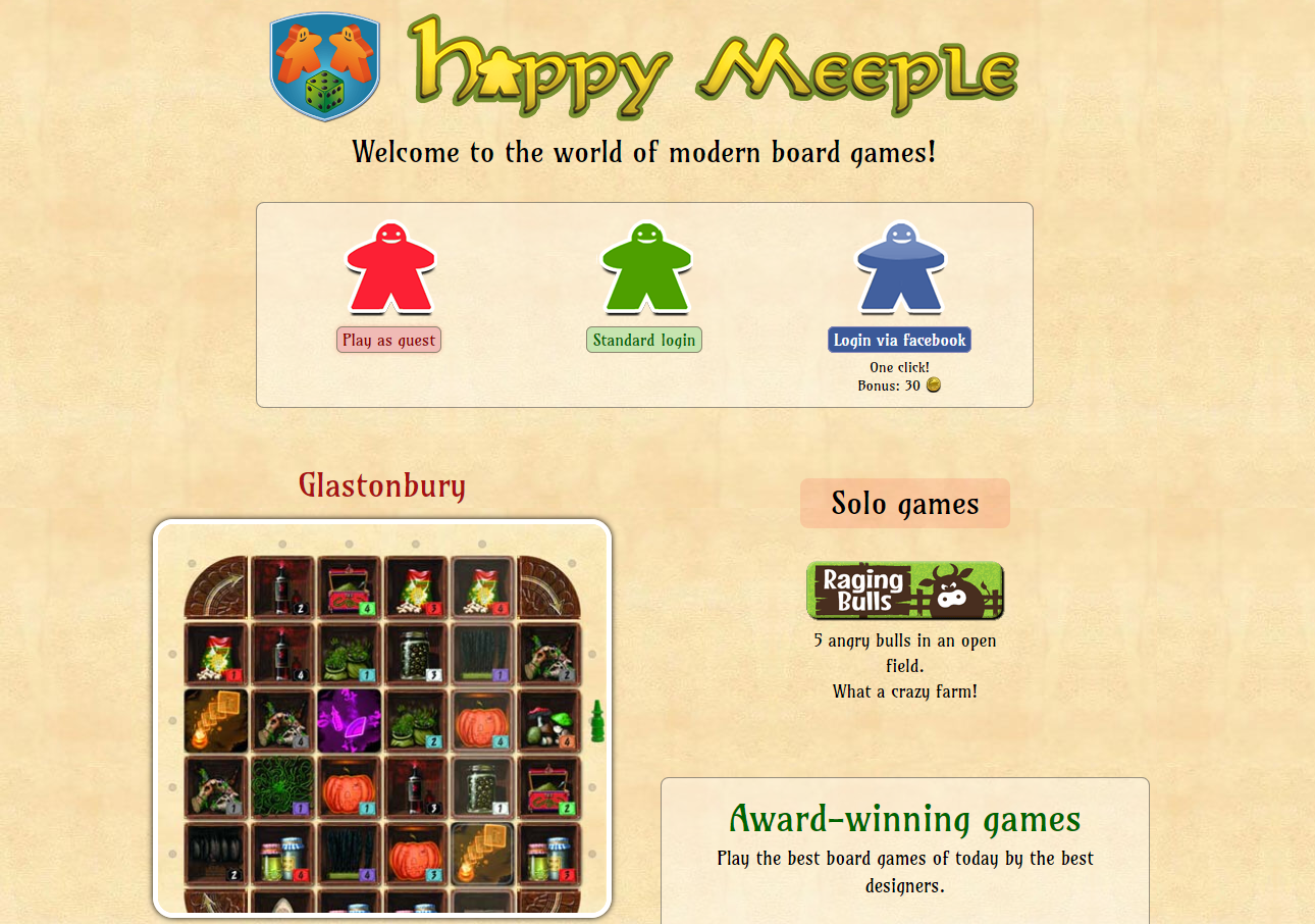 Happy Meeple homepage