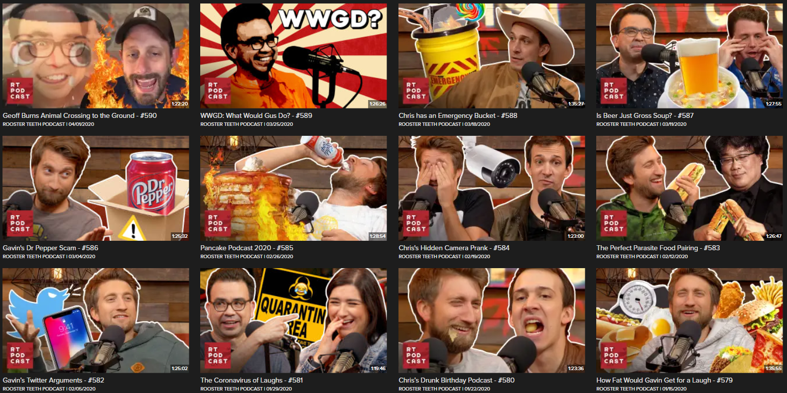 Thumbnails from the Rooster Teeth podcast