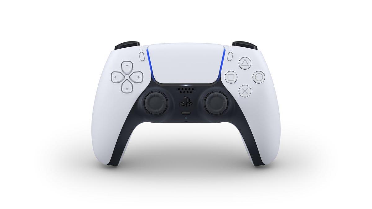 A white and black DualSense controller.
