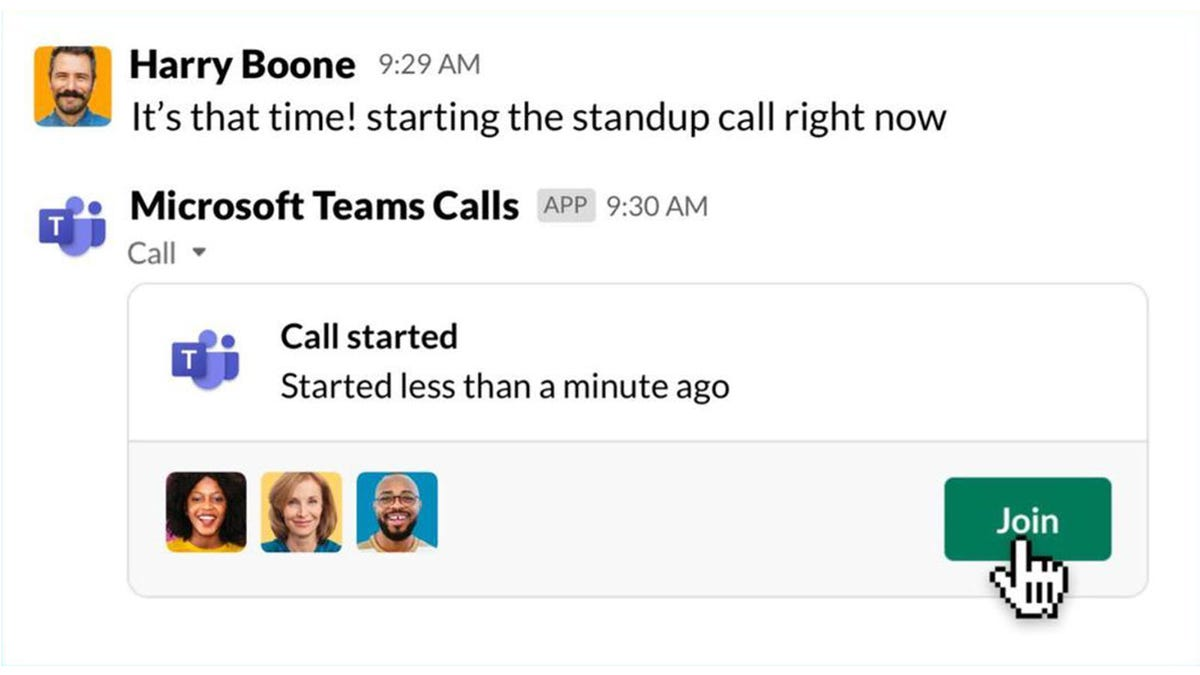 A slack conversation starting a Microsoft Teams call