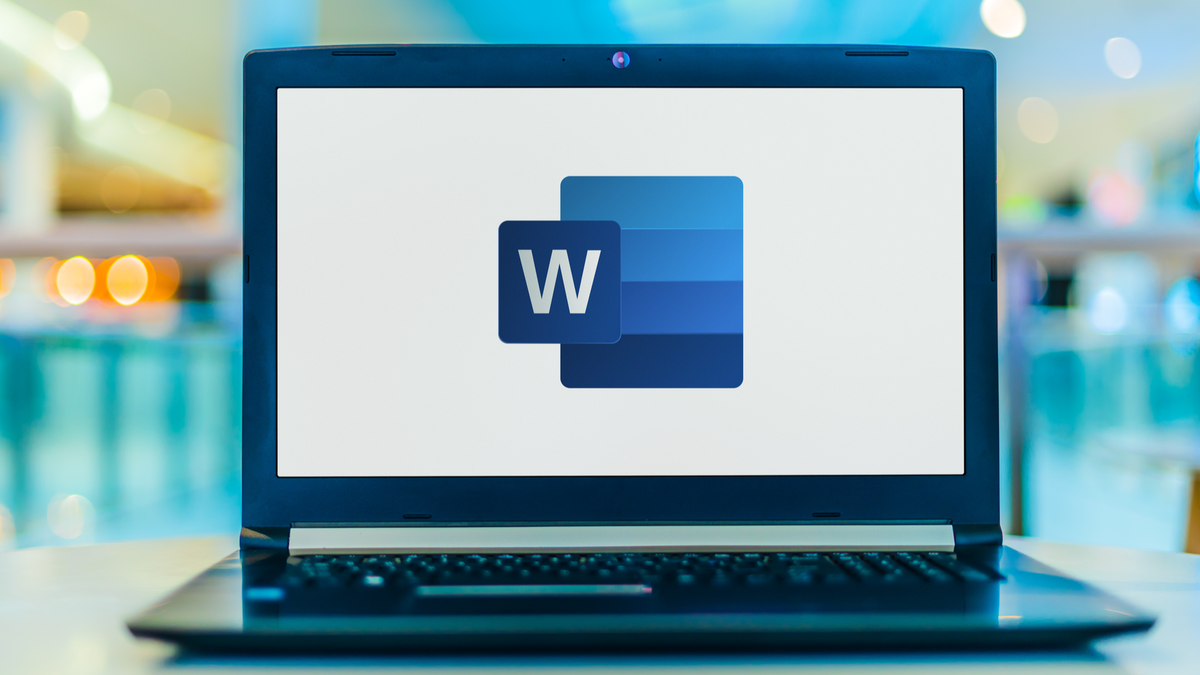 Laptop computer displaying logo of Microsoft Word, a word processor developed by Microsoft
