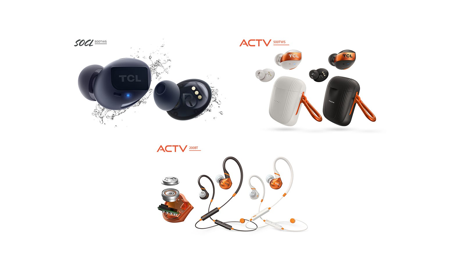 Two pairs of True Wireless earbuds and a sports earbud band.