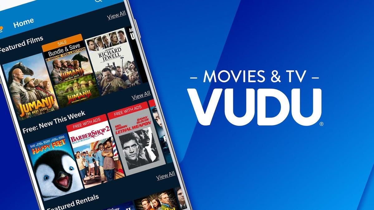 The Vudu log next to a phone running the Vudu app with Jumanji videos.