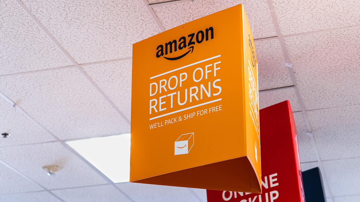 A photo of an Amazon returns flag at UPS.