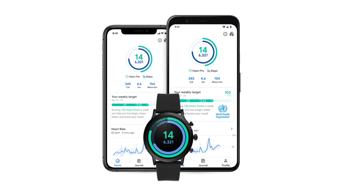 A Wear OS device in front of an iPhone and Android phone.