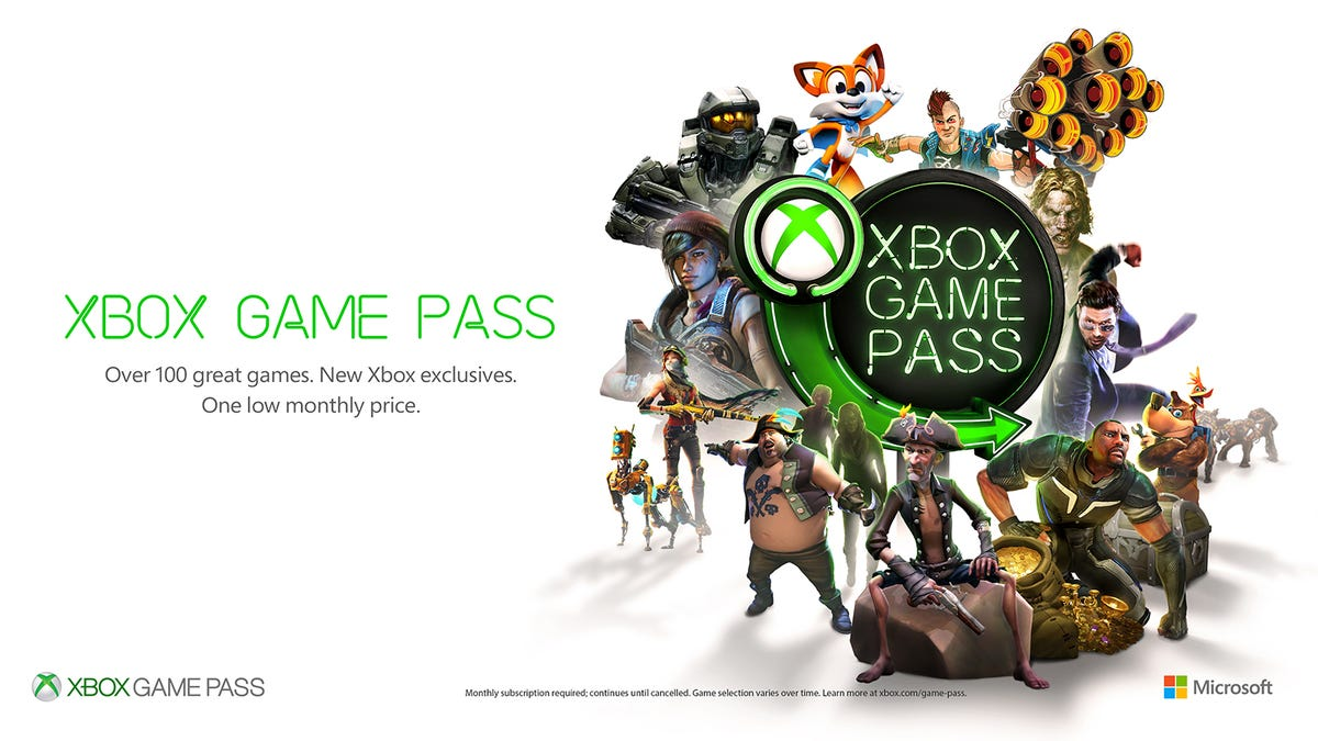 Xbox Game Pass logo with various game characters.
