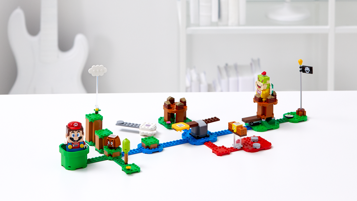 The LEGO Super Mario starter set with Mario and Bowser Jr. figures.